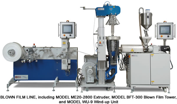 Film line, including Model ME20-2800 Extruder, Model BFT-300 Blown Film Tower, and Model WU-9 Wind-up Unit