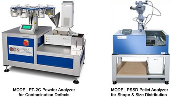 Model PT-2C Powder Analyzer for Contamination Defects and Model PSSD Pellet Analyzer for Shape & Size Distribution